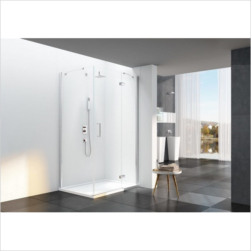 Merlyn - Showers - 6 Series Frameless Hinge & Inline With Side Panel Incl Tray