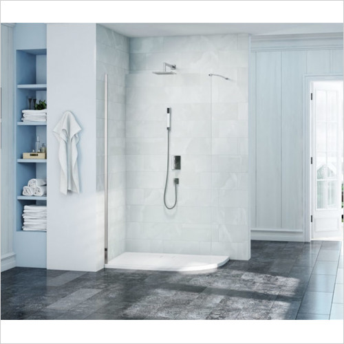 Merlyn - Showers - 8 Series Curved Shower Wall 1200 RH With Mstone Tray, 1200mm