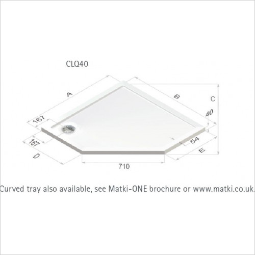 Matki - Showers - Universal 40 Raised Pent Shower Tray 1000mm